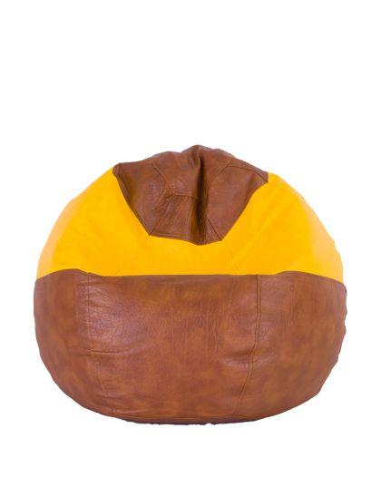 Детски пуф микс кафяво и жълто